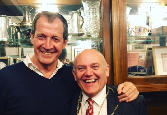 Alastair Campbell, left, meets with Aberdeen Lord Provost Barney Crockett