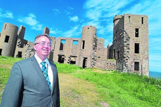 Councillor Stephen Calder at Slains Castle.