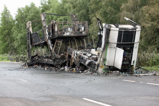 Co-op lorry which was destroyed in a blaze on the A9 which closed the road for about 12 hours