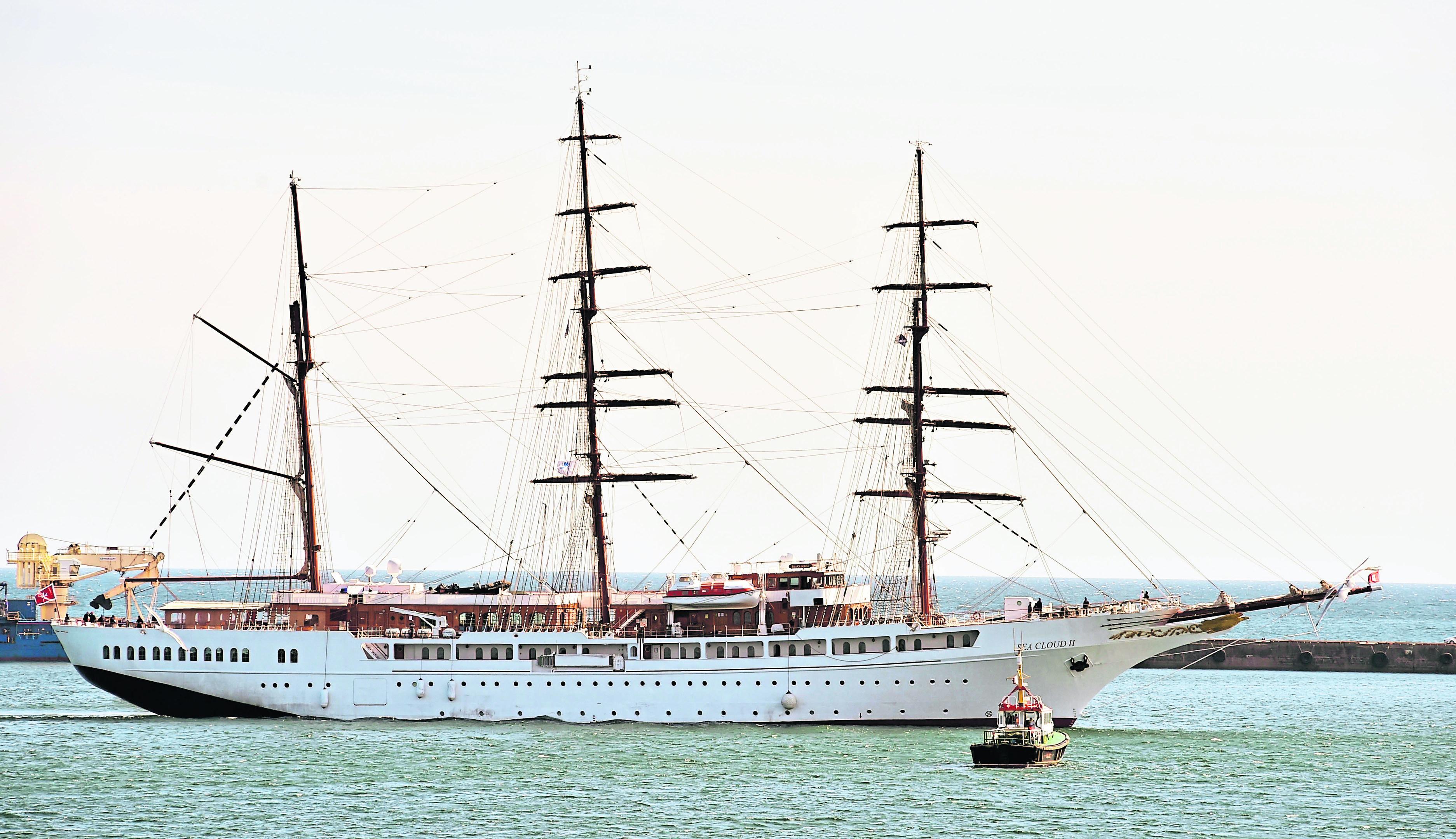 The Sea Cloud II arriving at Peterhead Harbour.