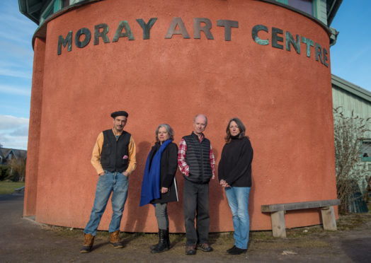 The future is brighter at Moray Art Centre.  Pictured: Artist, tutor and founder Randy Klinger, artist, tutor and trustee Celia Forestal Smith, Water colour artist Jonathon Wheeler, and artist, trustee and teacher Julia Law.