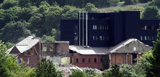 With the good spell of weather contractors central demolition are able to crack on with the demolition of the Old Oban High School schools out for summer pic kevin mcglynn