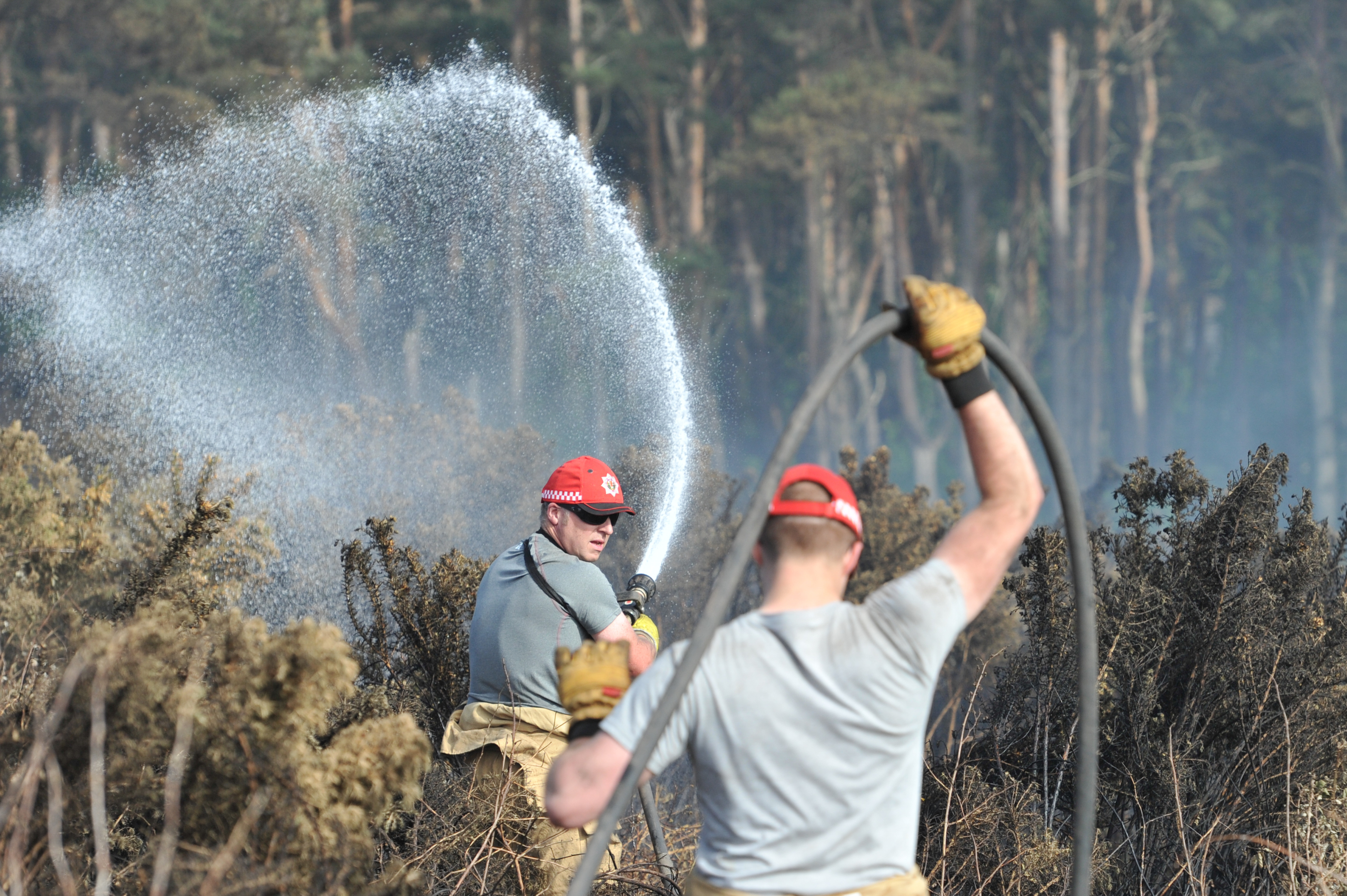 Fire crews have been attending to pockets of gorse fire between Covesea and Hopeman in Moray.