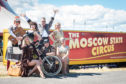 Picture by JASON HEDGES      Members of The Moscow State Circus pose for pictures ahead of their show in Elgin, Moray.