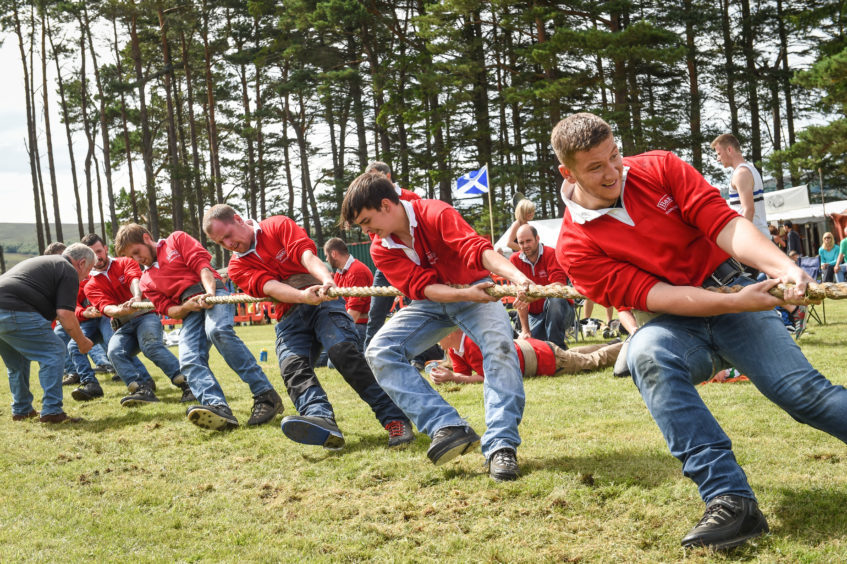 Elgin's tug of war team in action at the Tomintoul Highland Games. Picture by Jason Hedges.