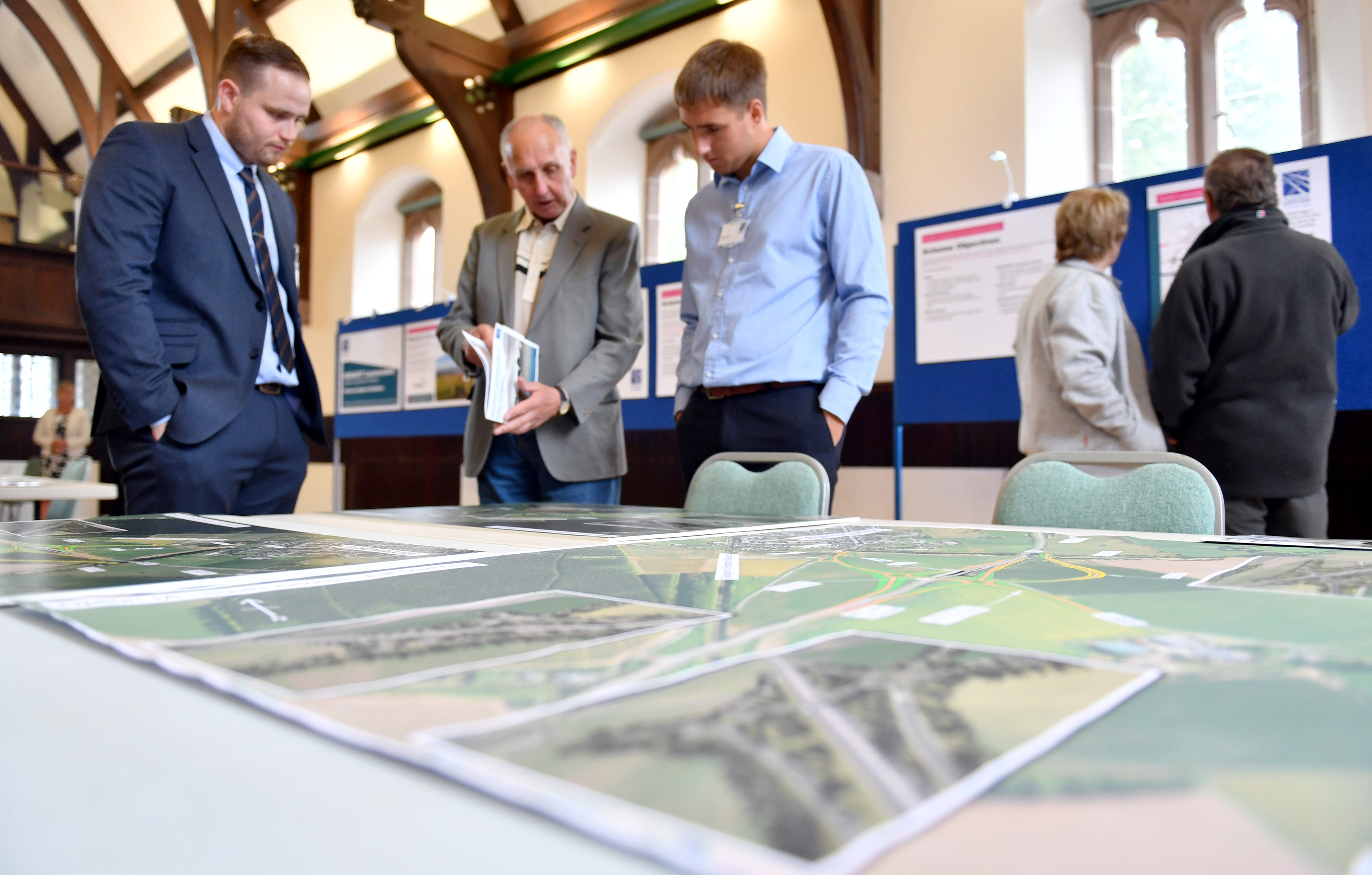 The public views the proposed new junction / flyover at Laurencekirk, at the Dickson Memorial Hall in the village. (Picture by Kami Thomson)