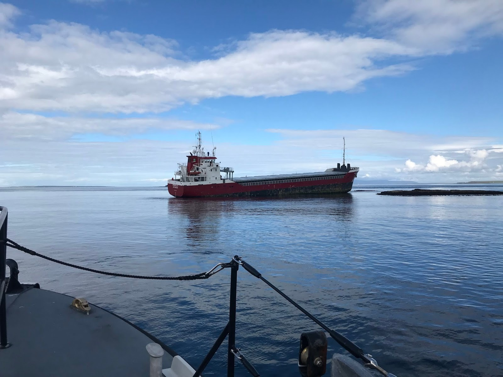 The Priscilla cargo ship has run agroundnear the Pentland Skerries.