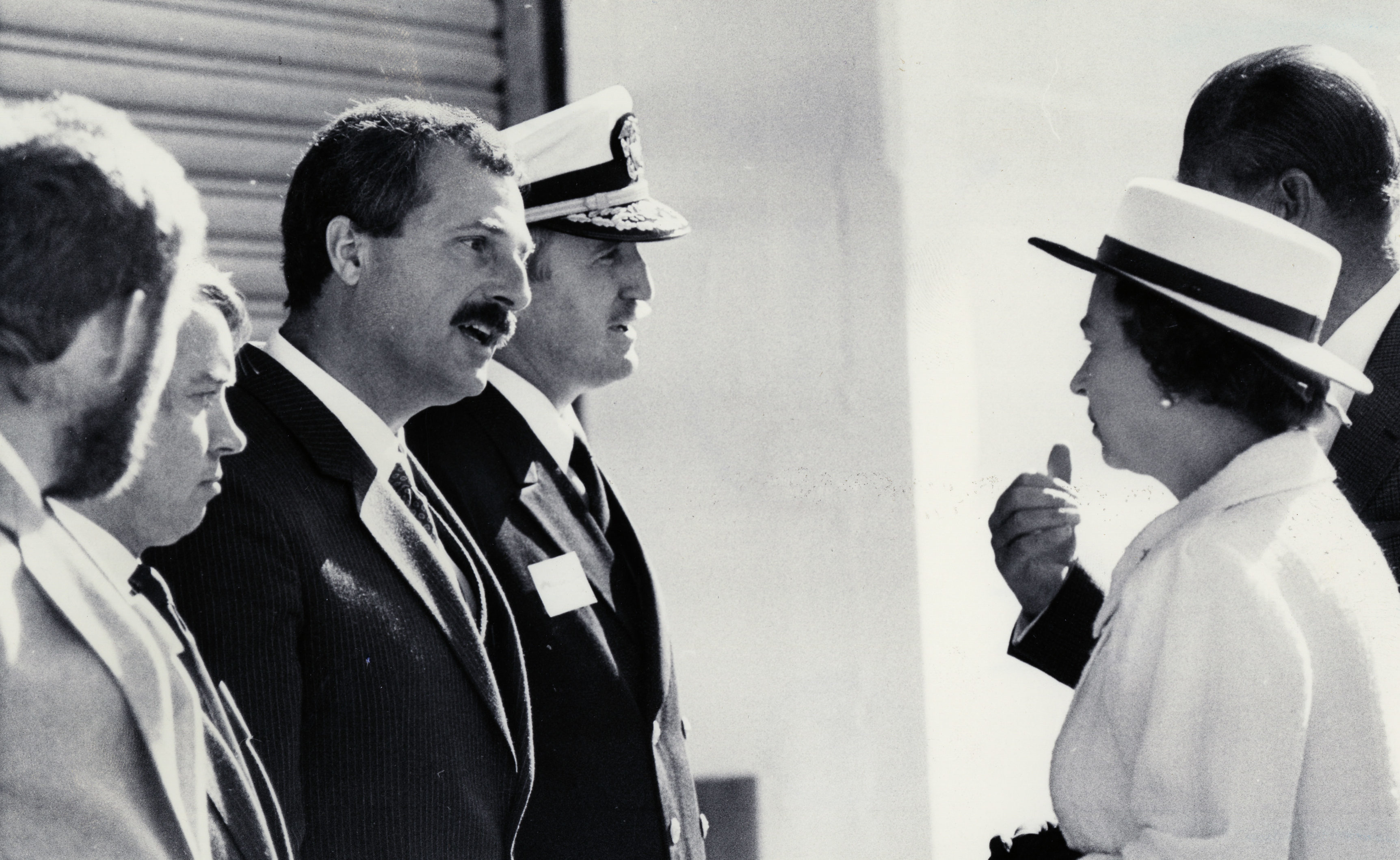 The Queen meeting Iain Letham, Capt Alistair Letty, Stanley MacLeod and Admiral John Redd, four men who had a key role in the Piper Alpha rescue operation, in Aberdeen on August 15 1988.