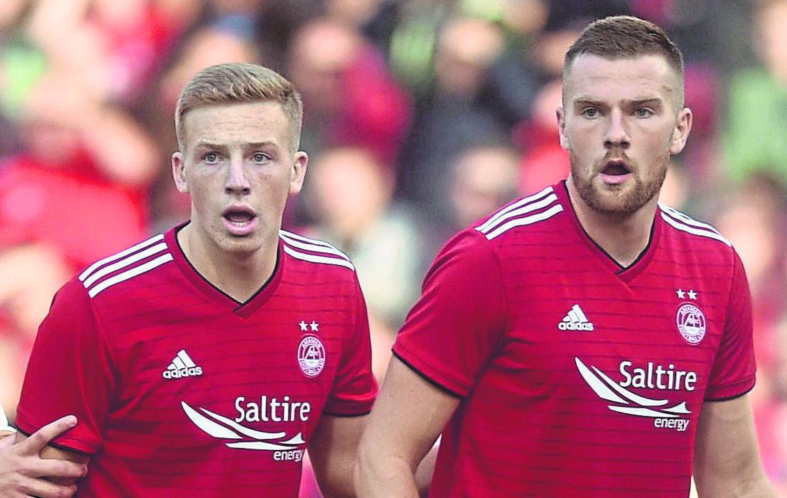 Michael Devlin, right, was sent-off for Aberdeen