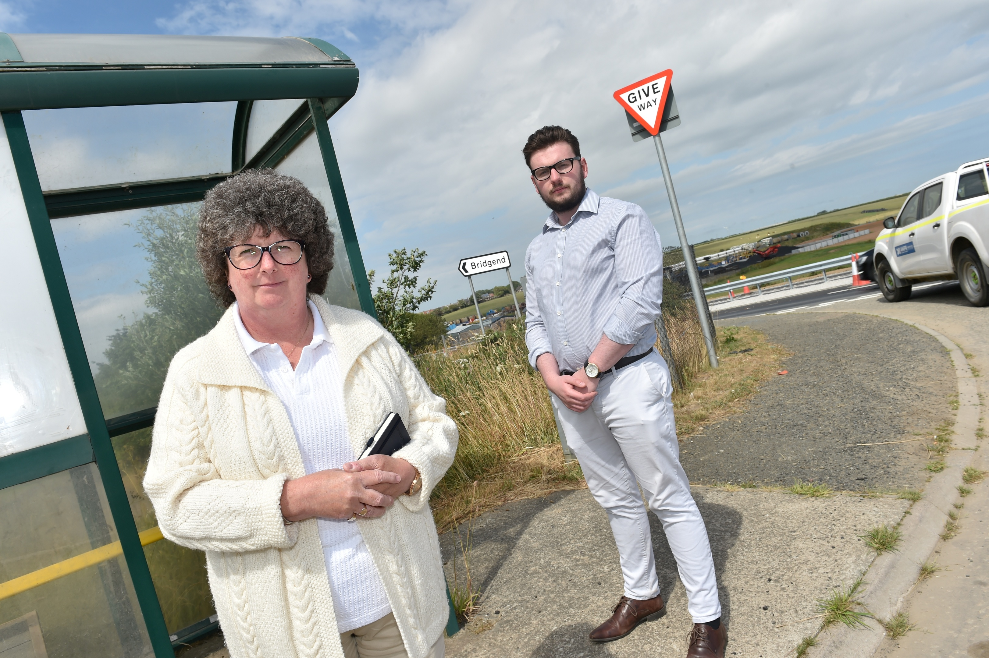 Residents of Bridgend near Ellon are angry that their bus stop has been moved further away as part of the AWPR upgrade. Cllr Gillian Owen and Alexander Owen have been campaigning on behalf of Colin Clark MP. Picture by COLIN RENNIE  July 13, 2018.