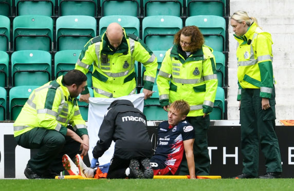 Jamie Lindsay was carried off against Hibernian last weekend.