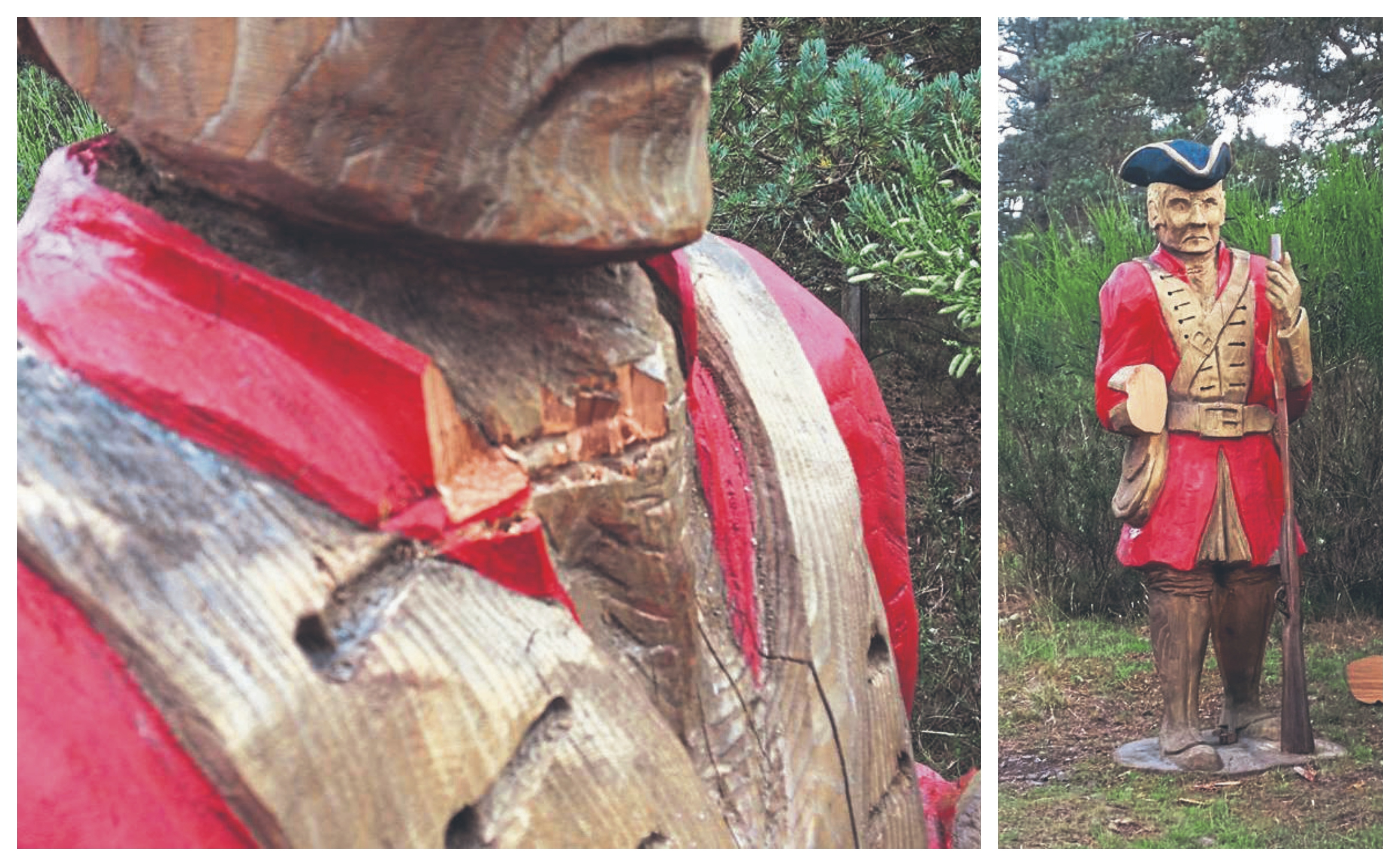 The hand of The Redcoat statue on Dava Way has been cut off and attempts to cut its head off can bee seen