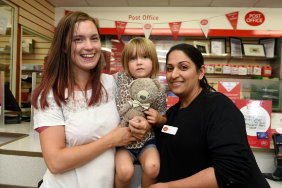 A lost teddy bear was finally reunited with its owner after being left behind at Berryden Post Office. Picture by Kenny Elrick.