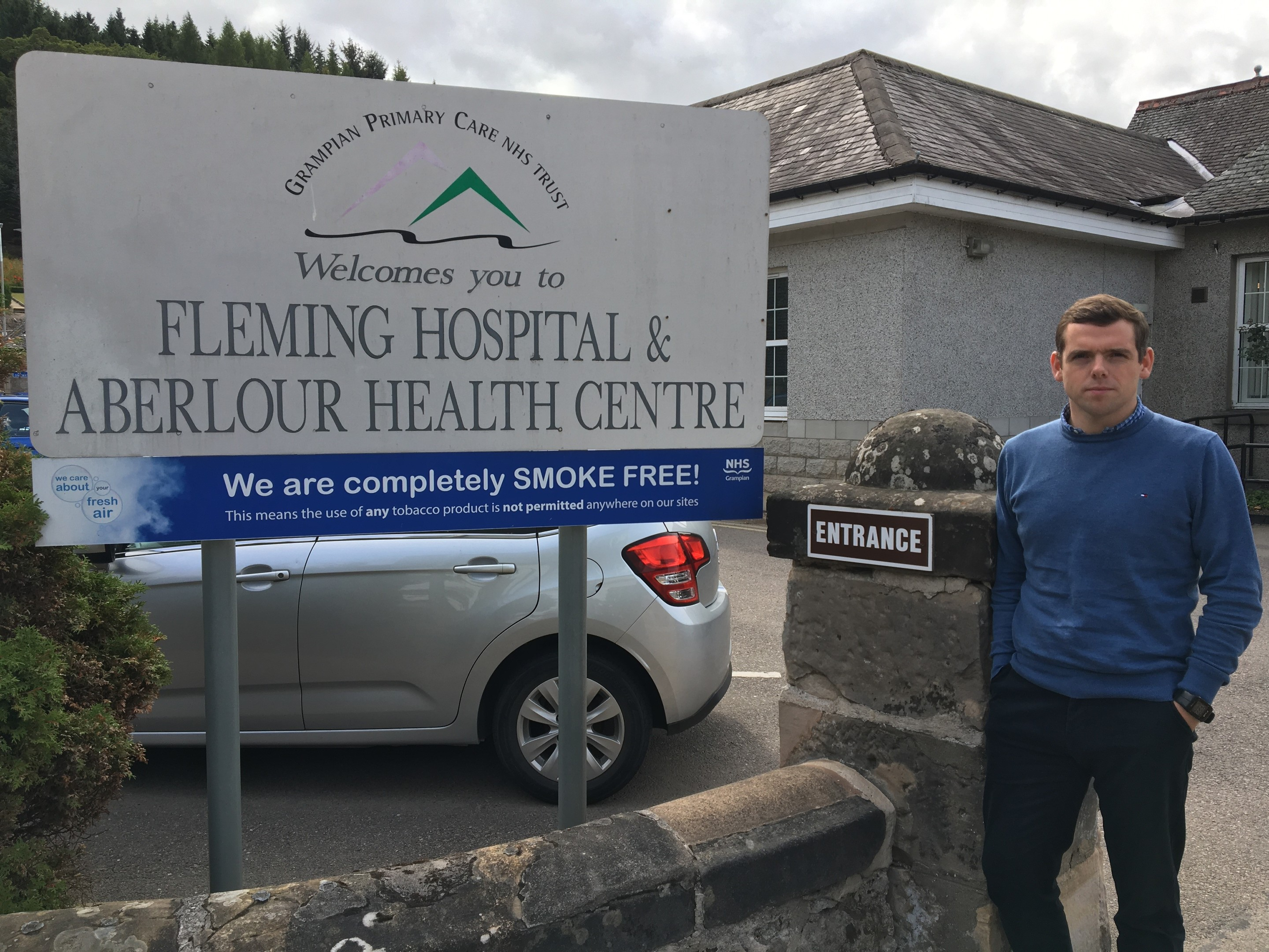 Moray MP Douglas Ross at the Fleming Hospital in Aberlour.