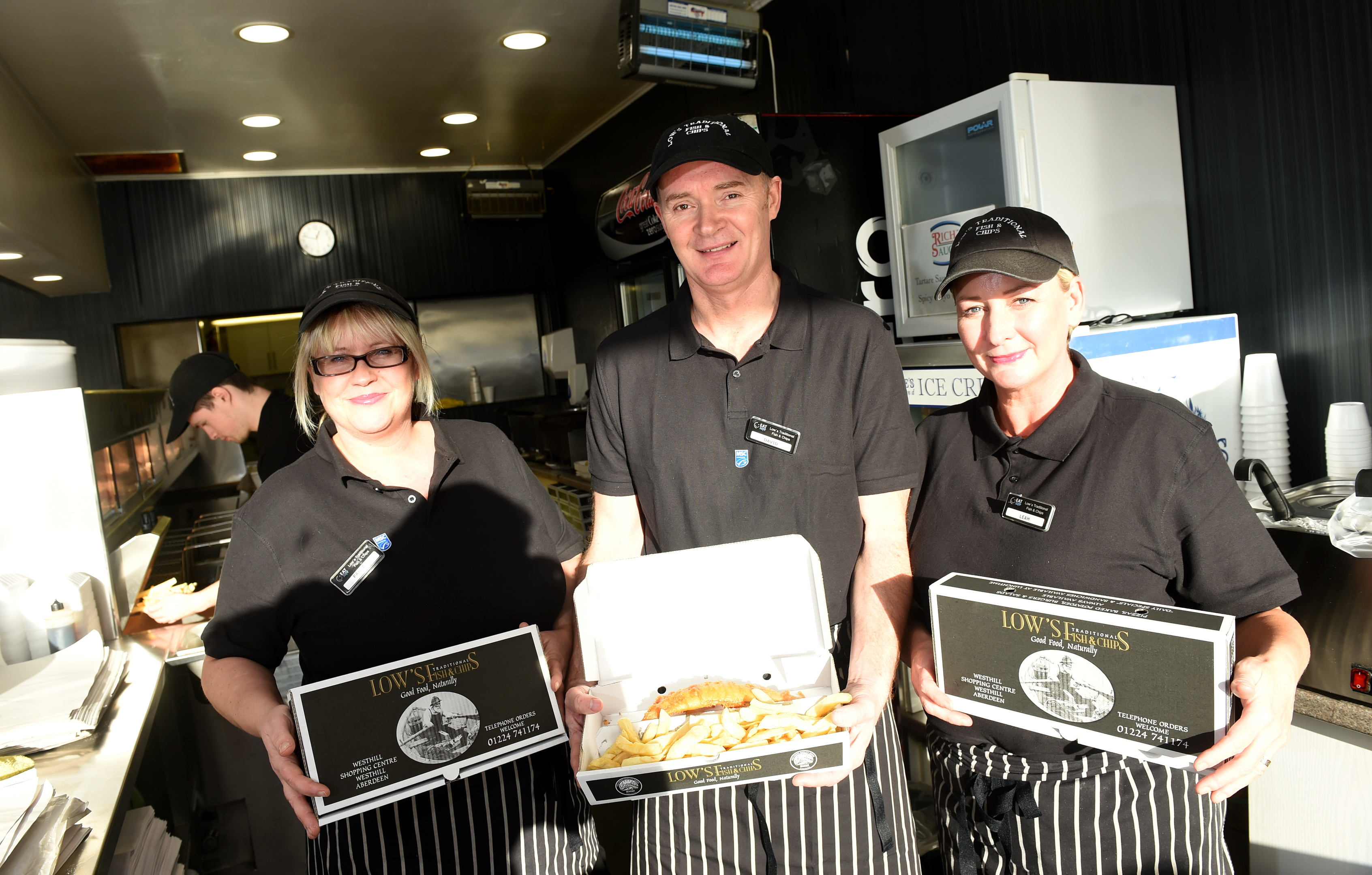 From left, Paula Low, David Low and Leah Adie at Lows Traditional Fish and Chips.
