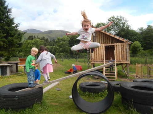 Pre-Covid 19: Children playing at the Stramash Nursery in Fort William.