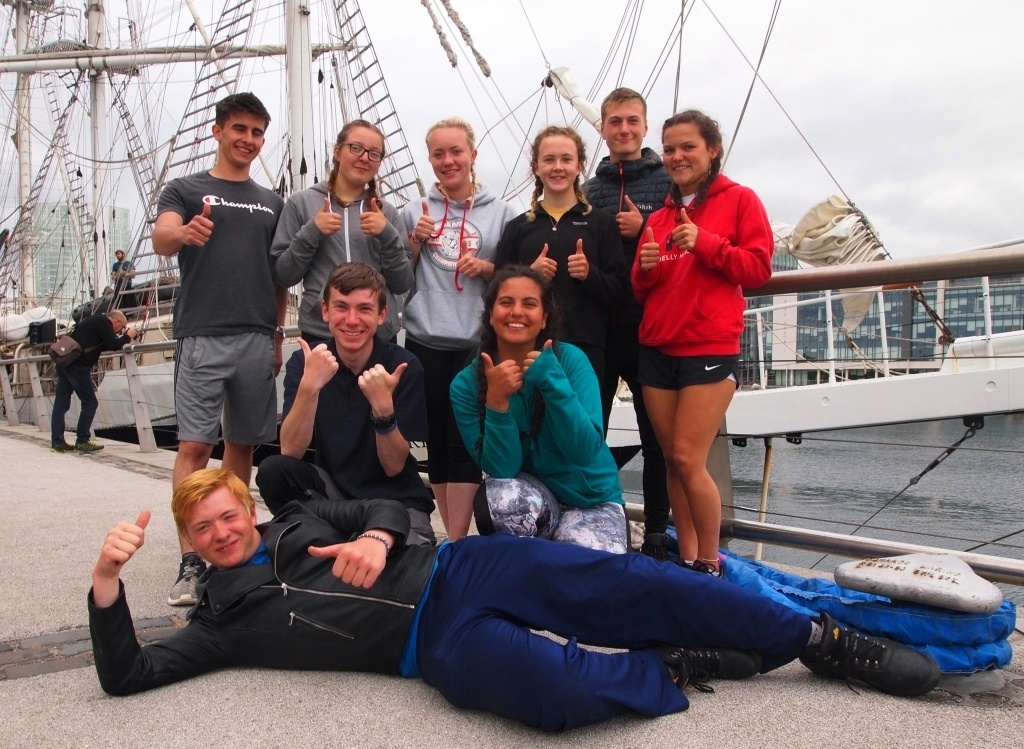 The cadets pictured after arriving in Belfast on the navigation.