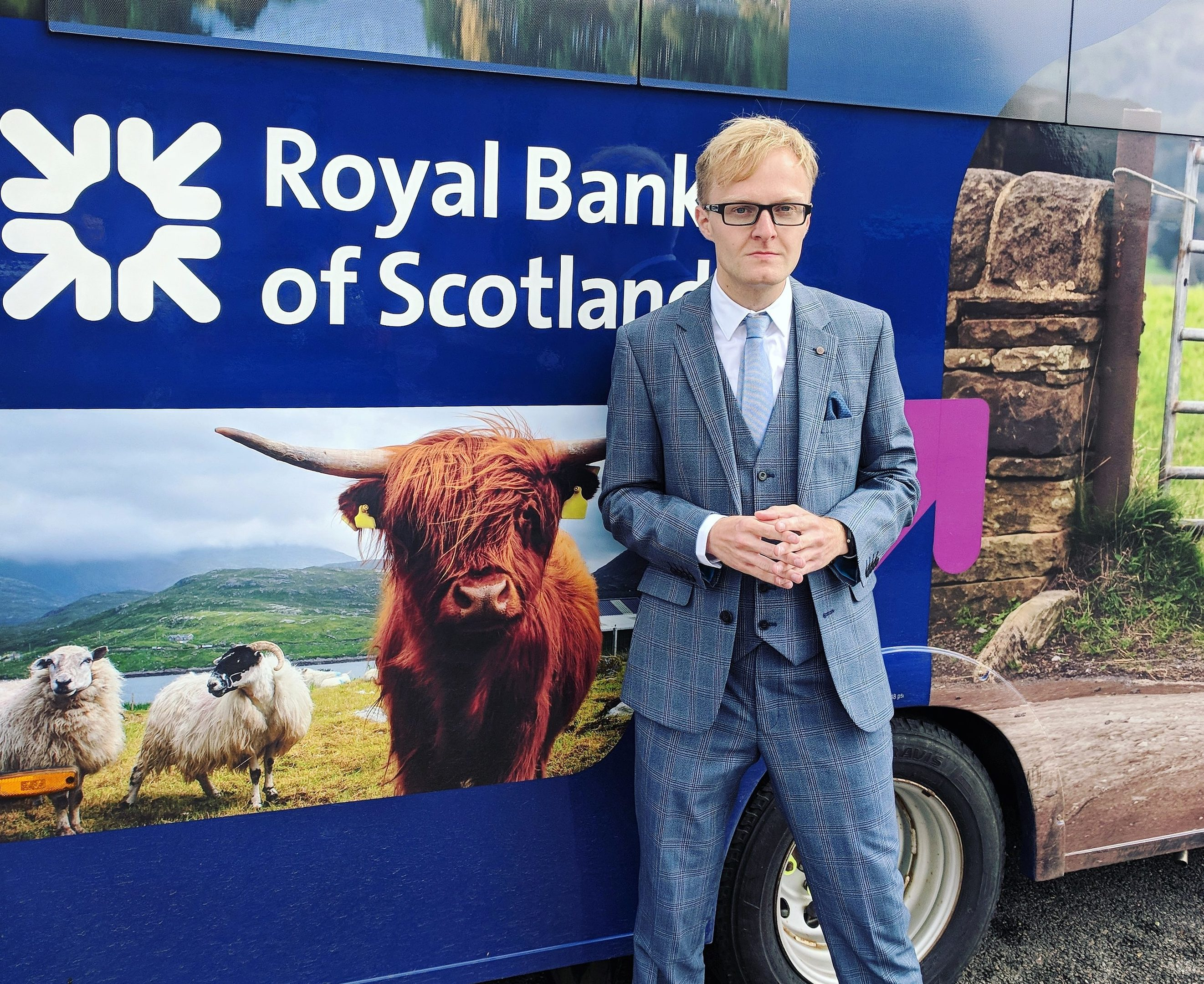 Mearns councillor Leigh Wilson outside the RBS mobile banking van