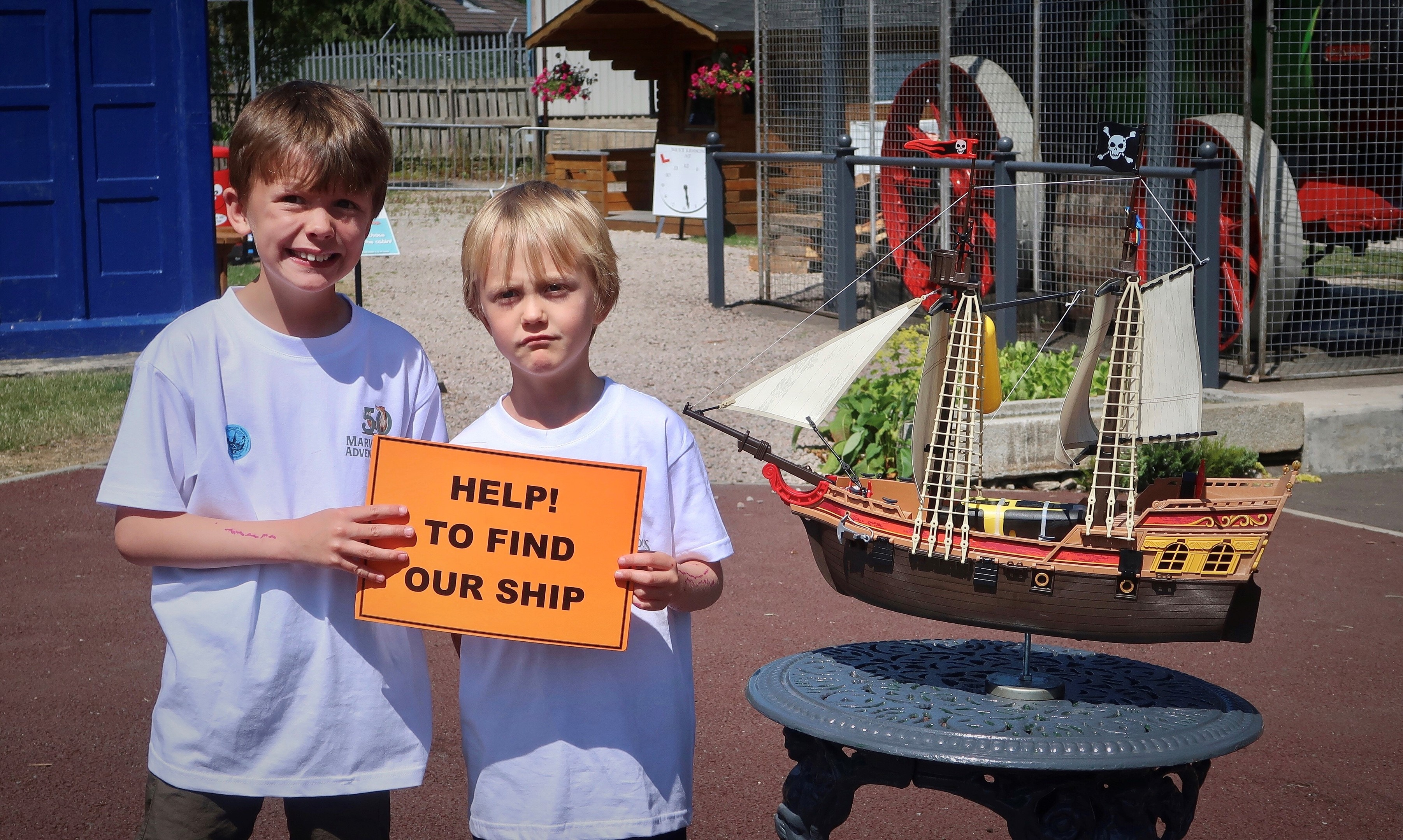 A replica of the PlayMobil pirate ship last seen in the waters of the Caribbean has gone on display in Alford's Grampian Transport Museum.