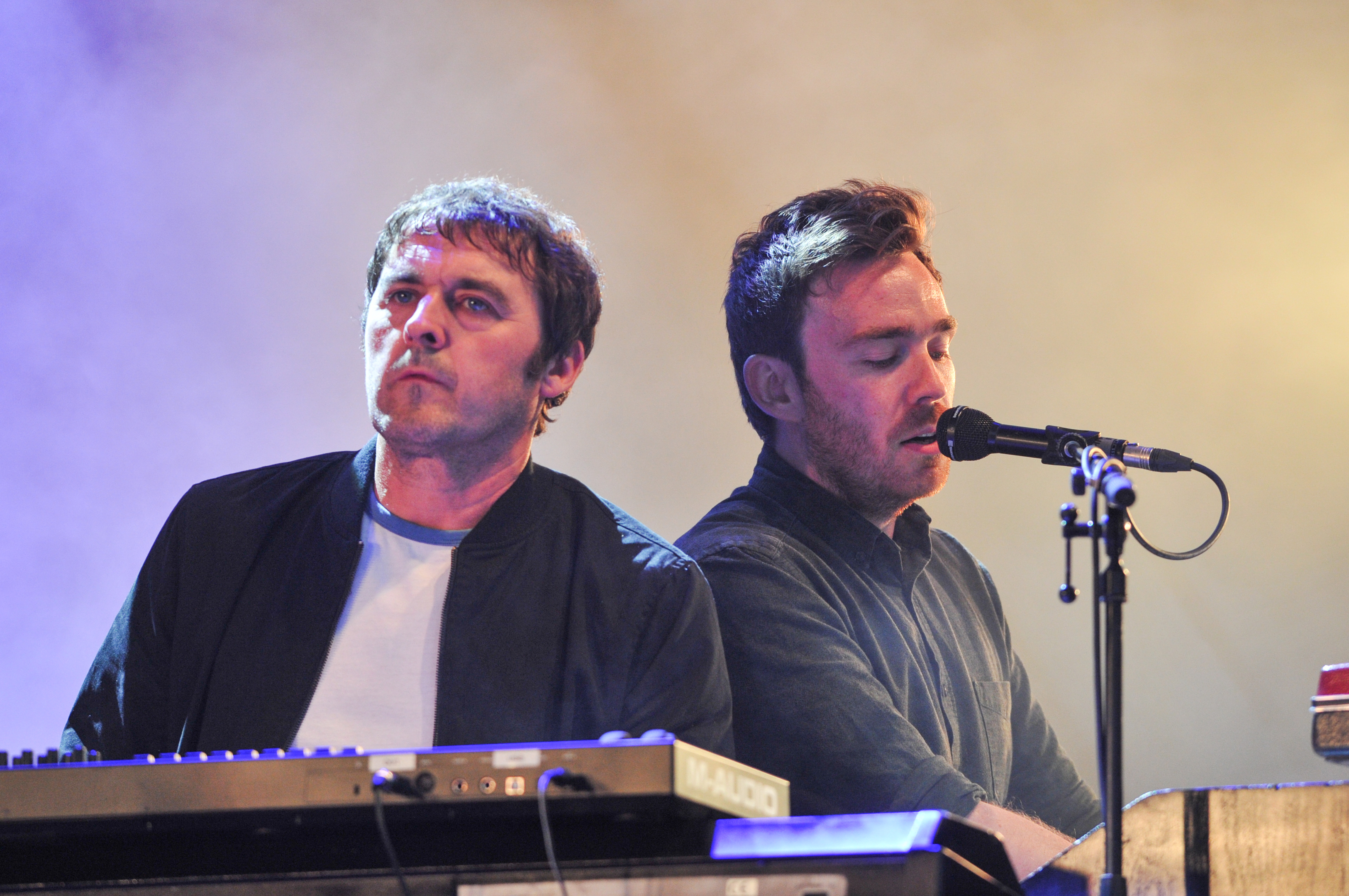 The Charlatans perform on the Garden Stage with members of Frightened rabbit.