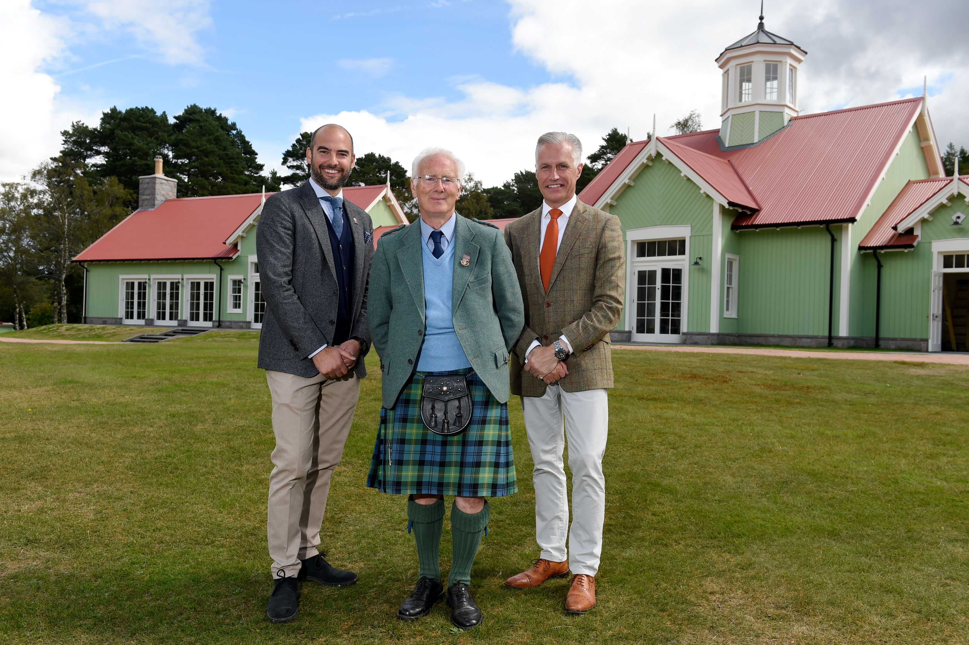 The Duke of Rothesay Highland Games Pavilion will open on Saturday.  Picture of (L-R) Michael Harris (architectural designer), David Geddes (Braemar Royal Highland Society president) and Robert Lovie (Prince's Foundation director of outreach). (Picture by Kenny Elrick)