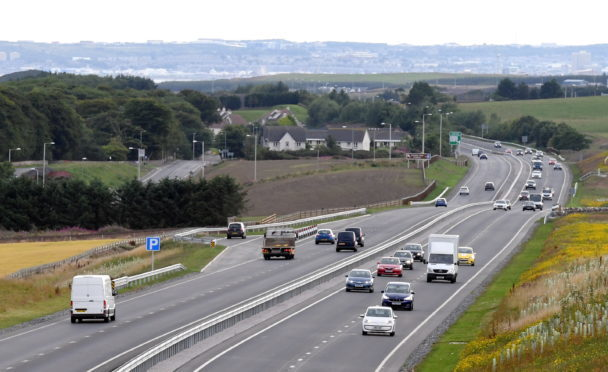 The A90 looking south toward Balmedie and Aberdeen.    Picture by Kami Thomson