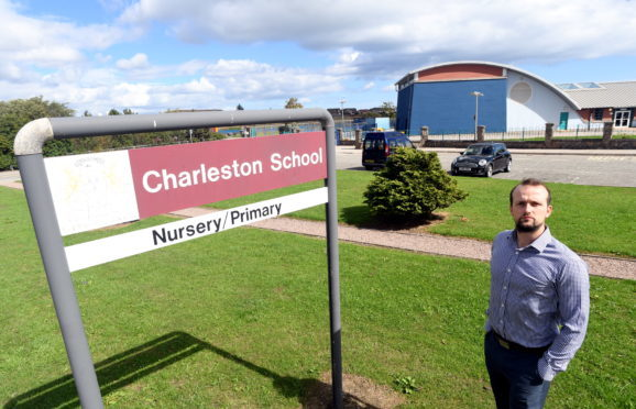 Councillor Stephen Flynn at Charleston Primary School where signs of the use of legal highs were found in the playground.    Picture by Kami Thomson.