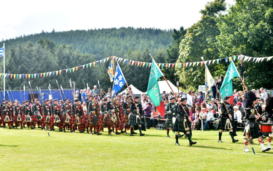 Spectators view the Lonach Highlanders.