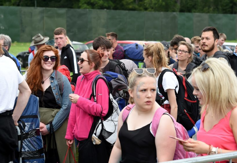 Picture by SANDY McCOOK  3rd August '18 Belladrum 2018 Friday night.  Fans arrive at the festival site at Belladrum on Friday afternoon.