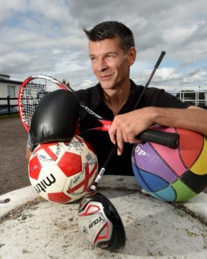 Malcolm MacSween of NessActive, Inverness with some of the sports equipment his charity is lending out for people to try a sport and become more active. Picture by Sandy McCook.