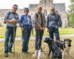 David and Peta Broadfoot, Angus Dixon and John McDavitt arrive at Pluscarden Abbey.
