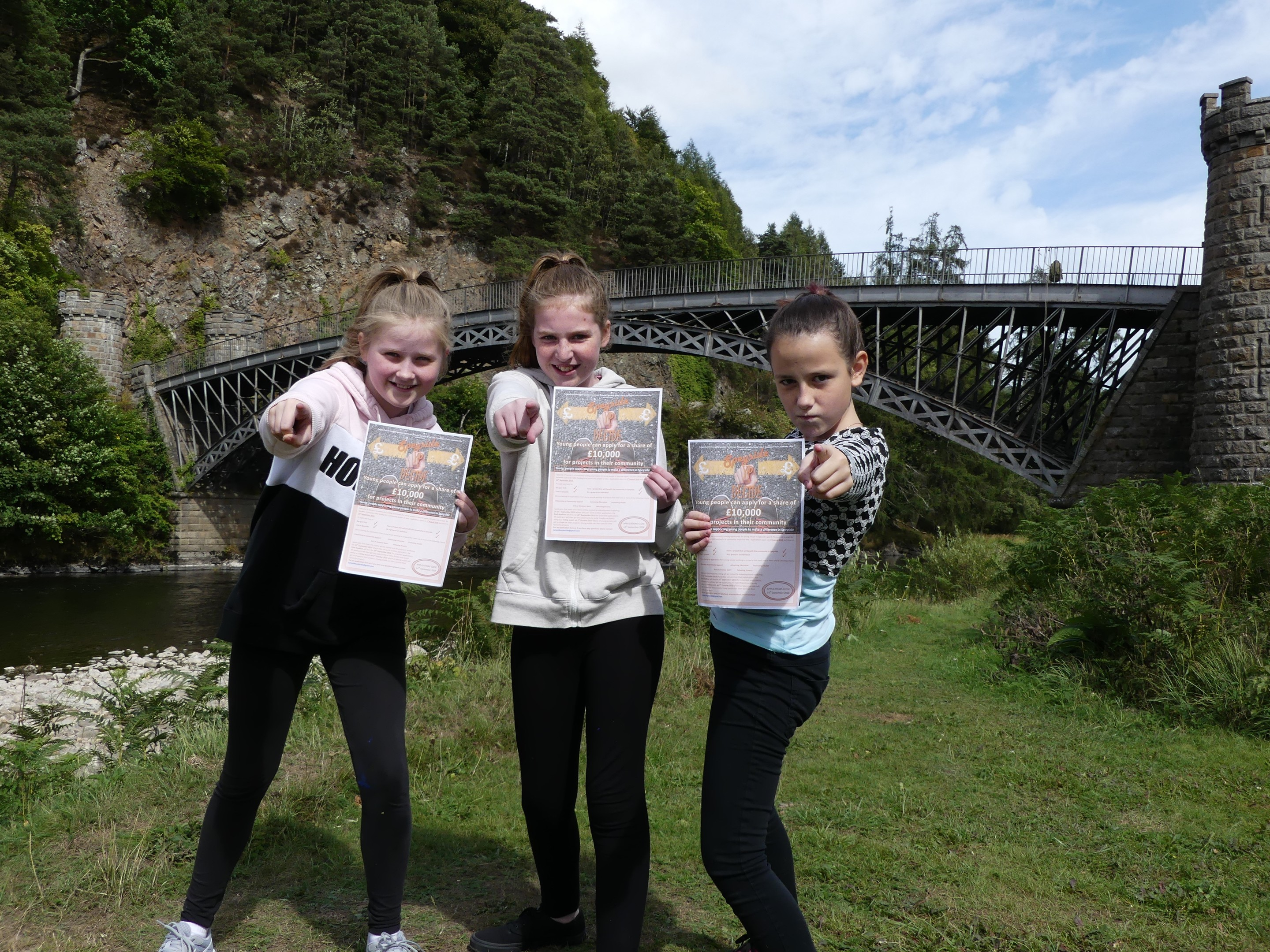 Speyside High School pupils Hannah Ross, Emma Nicol and Bria Kelly.