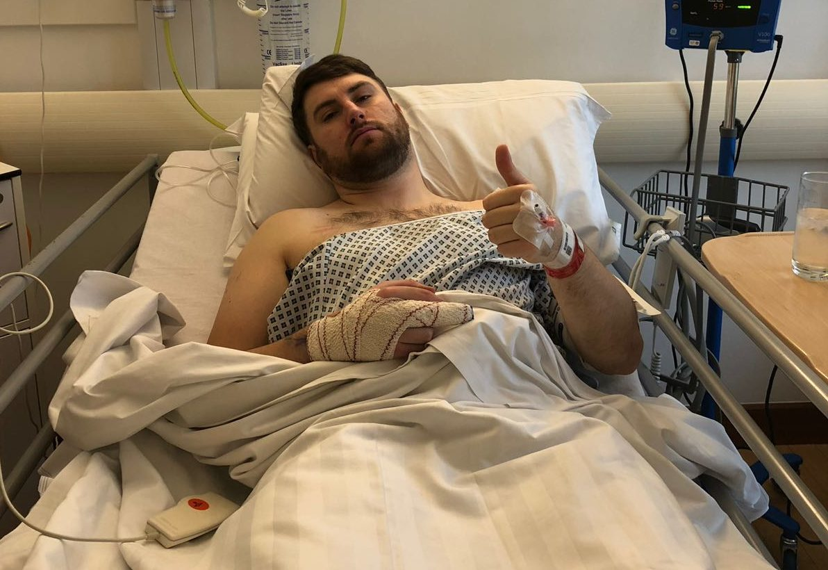 Tom Aplin required three operations to repair torn tendons in his middle finger.