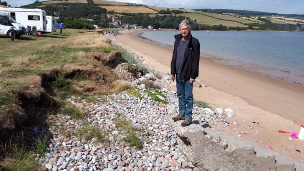 The site of coastal erosion in Rosemarkie.