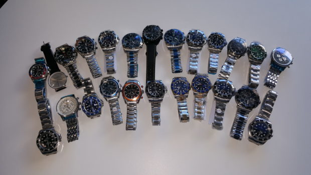 The counterfeit watches seized by trading standards officers.