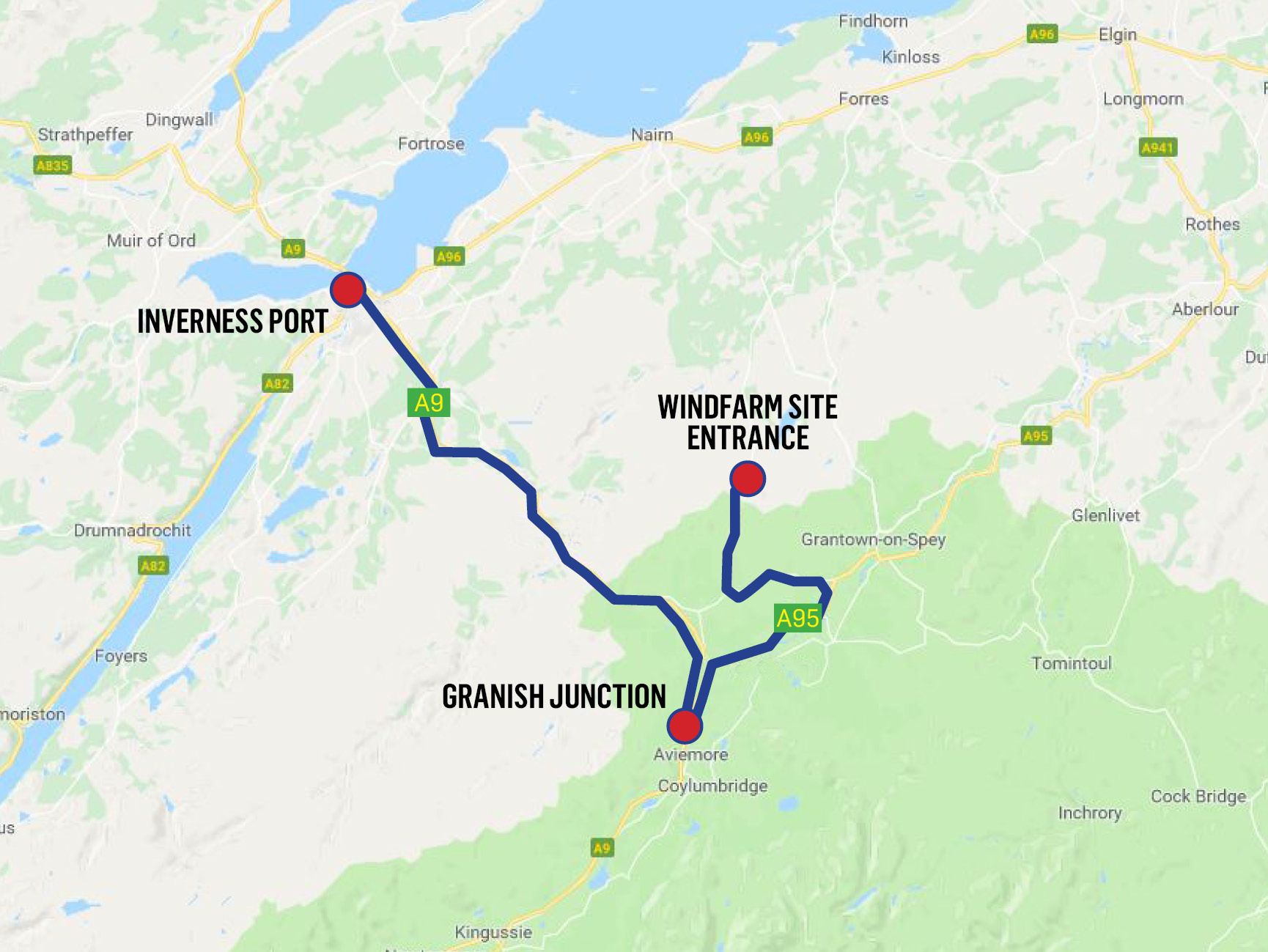 The route from Inverness to Tom nan Clach for the parts, which will have a police escort to minimise the disruption.