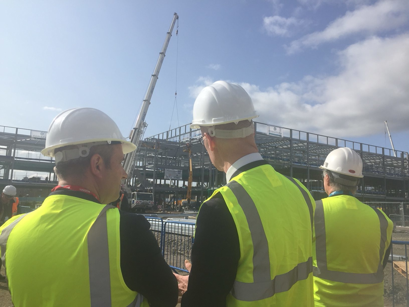 Deputy first minister John Swinney attended the Topping Off ceremony at Inverurie's new £55 million Community Campus build.