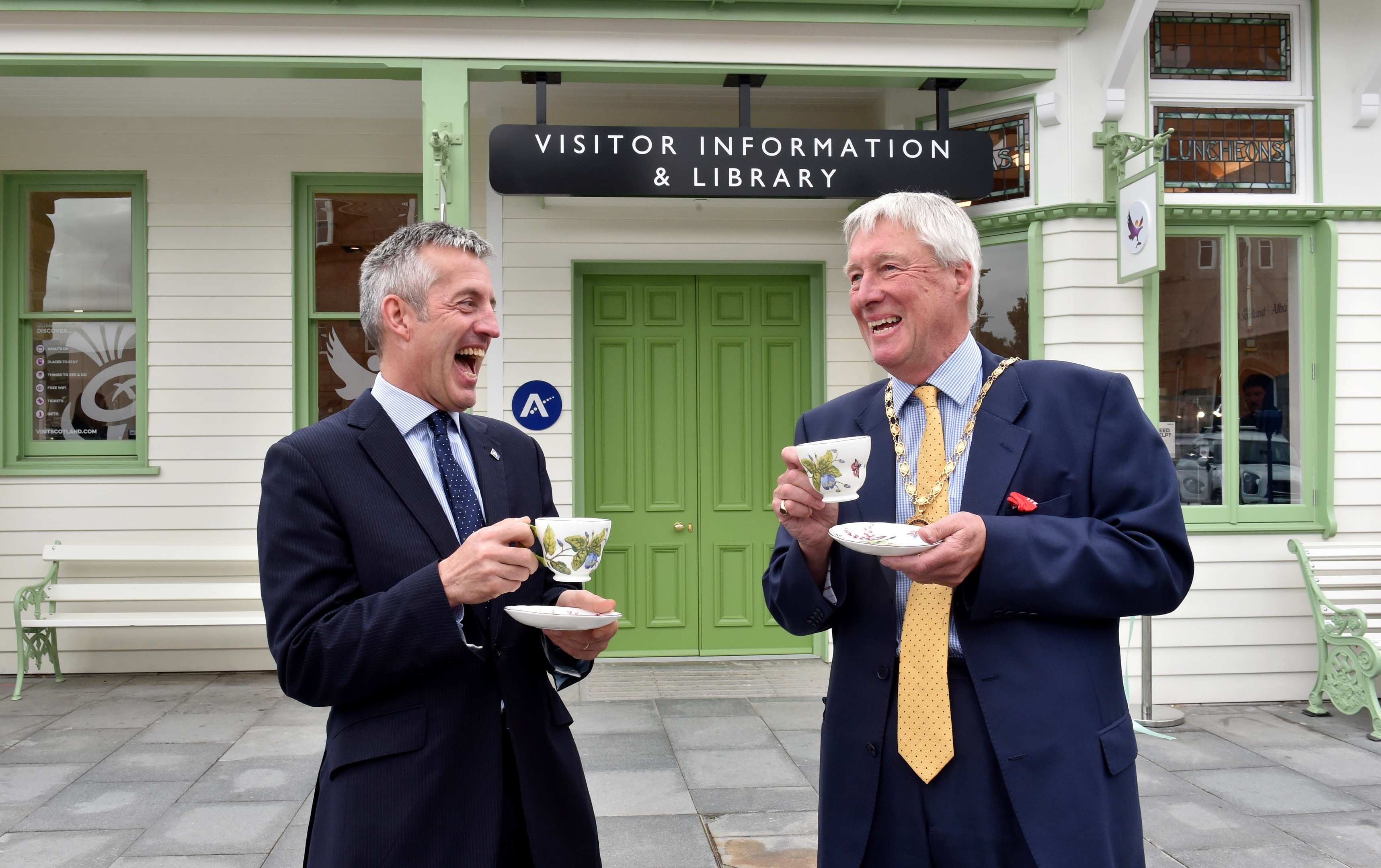 The Aberdeenshire Lord Provost Bill Howatson (right) officially opened the rebuilt Ballater station to the public. He is pictured with Chief Executive Jim Savege. Picture by Colin Rennie.