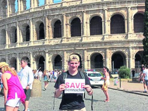A Save Bennachie campaigner in Rome.