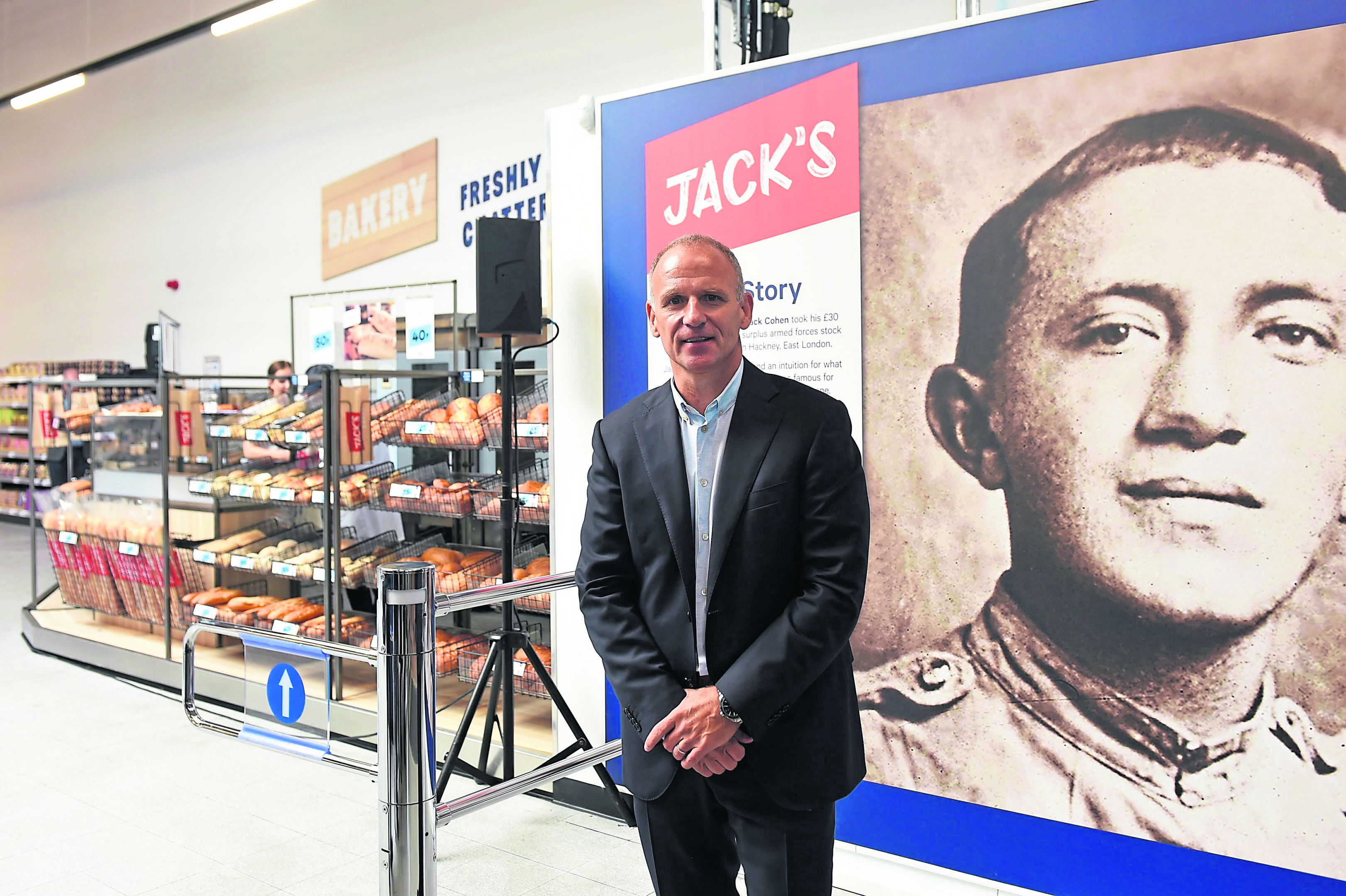 Tesco chief executive Dave Lewis, at the new Jack's store in Chatteris, Cambridgeshire.