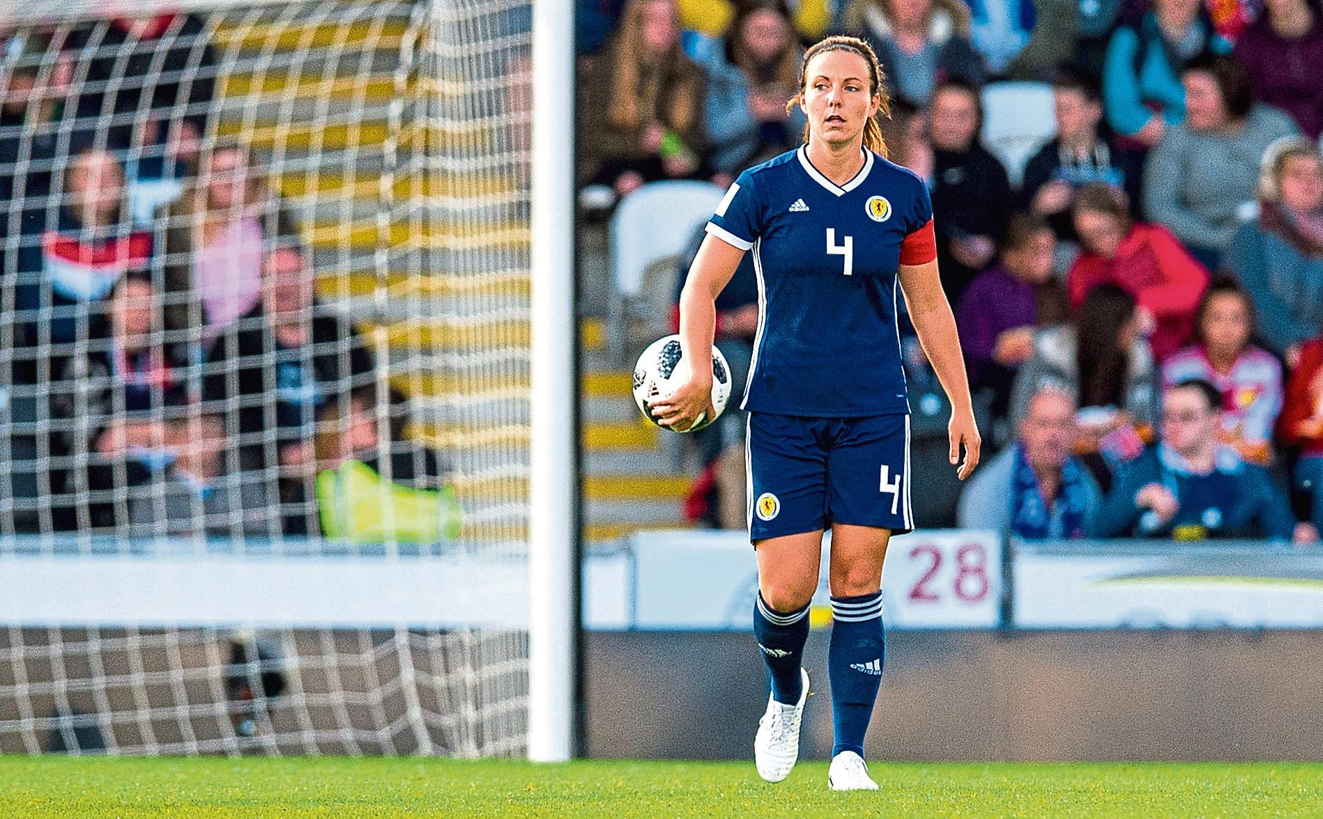 30/08/18 FIFA WOMENS 2019 WORLD CUP QUALIFIER    SCOTLAND WOMEN V SWITZERLAND WOMEN   THE SIMPLE DIGITAL ARENA - PAISLEY   Rachel Corsie in action for Scotland