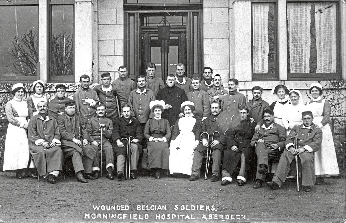 Wounded Belgian soldiers at Morningfield Hospital.
