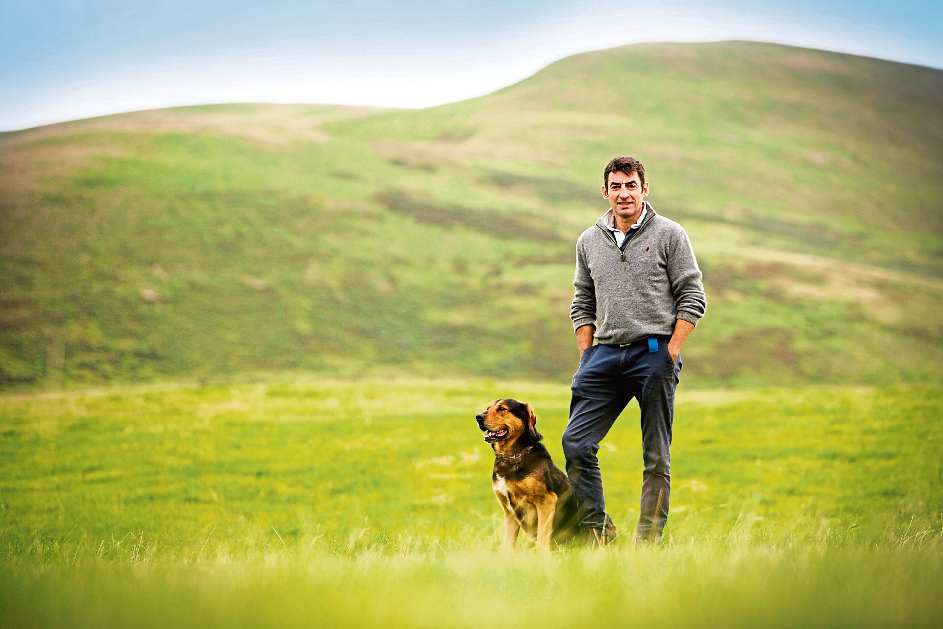 Hamish Dykes and dog Doug who will feature in the new Scotch Lamb TV advert.