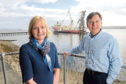 Picture by SANDY McCOOK  7th Octobr '16  Dierdre Michie, Chief Executive of UK Oil and Gas during her visit to the Cromarty Firth Port Authority yesterday (Friday). Also in the photograph is port authority Cjief Executive, Bob Buskie.