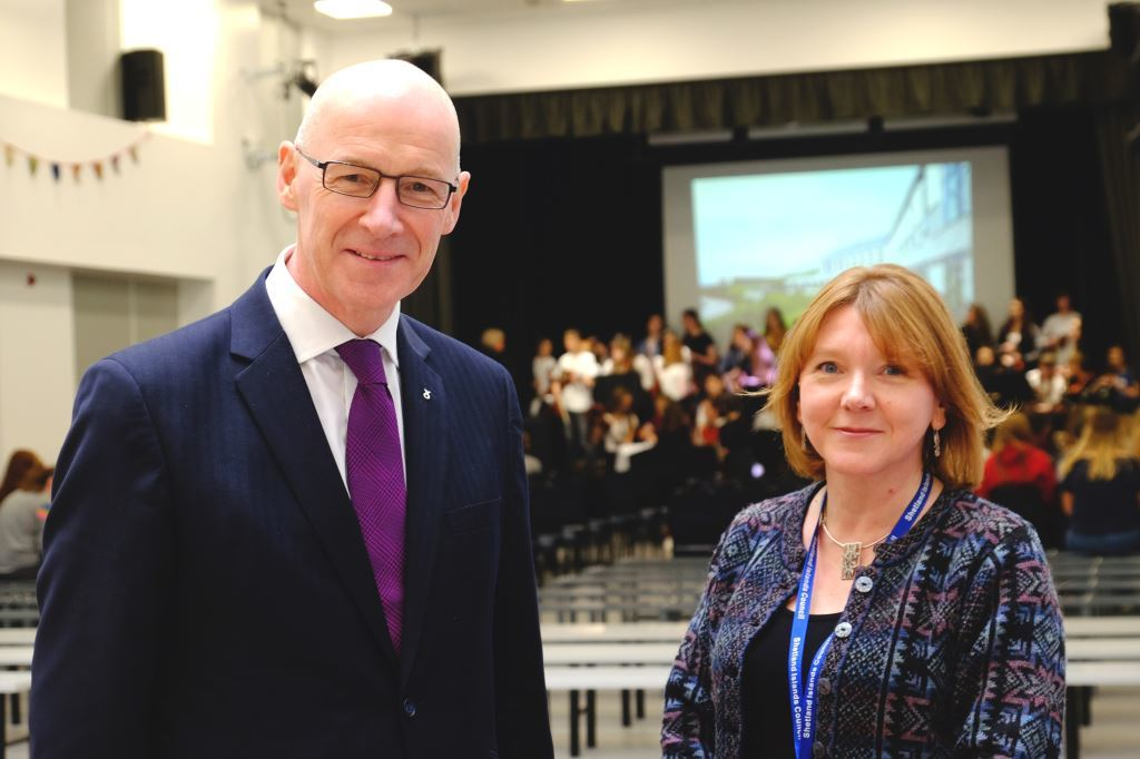 John Swinney (Deputy First Minister) addressed pupils, staff and guests in the school before the plaque was unveiled.