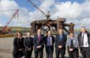 Paul Wheelhouse, third from left, visits Dales Voe with staff from the Oil and Gas Authority, Lerwick Port Authority, HIE, and Peterson