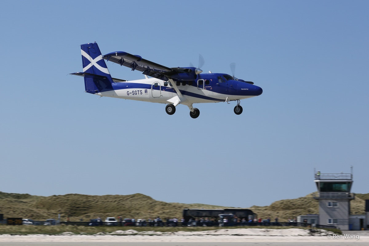 A Twin Otter plane in action.
