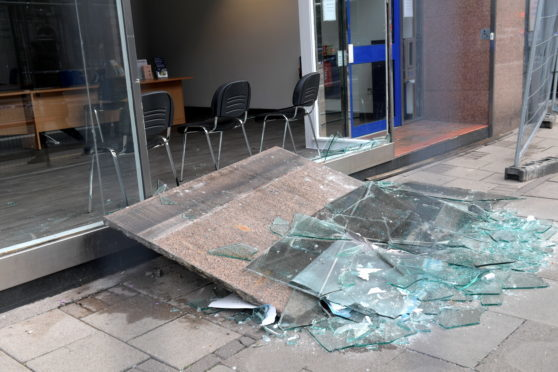 Broken window and damage to a building on Union Street. 04/09/18. Picture by KATH FLANNERY