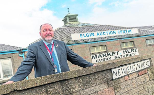 Councillor John Divers outside Elgin Auction Centre.