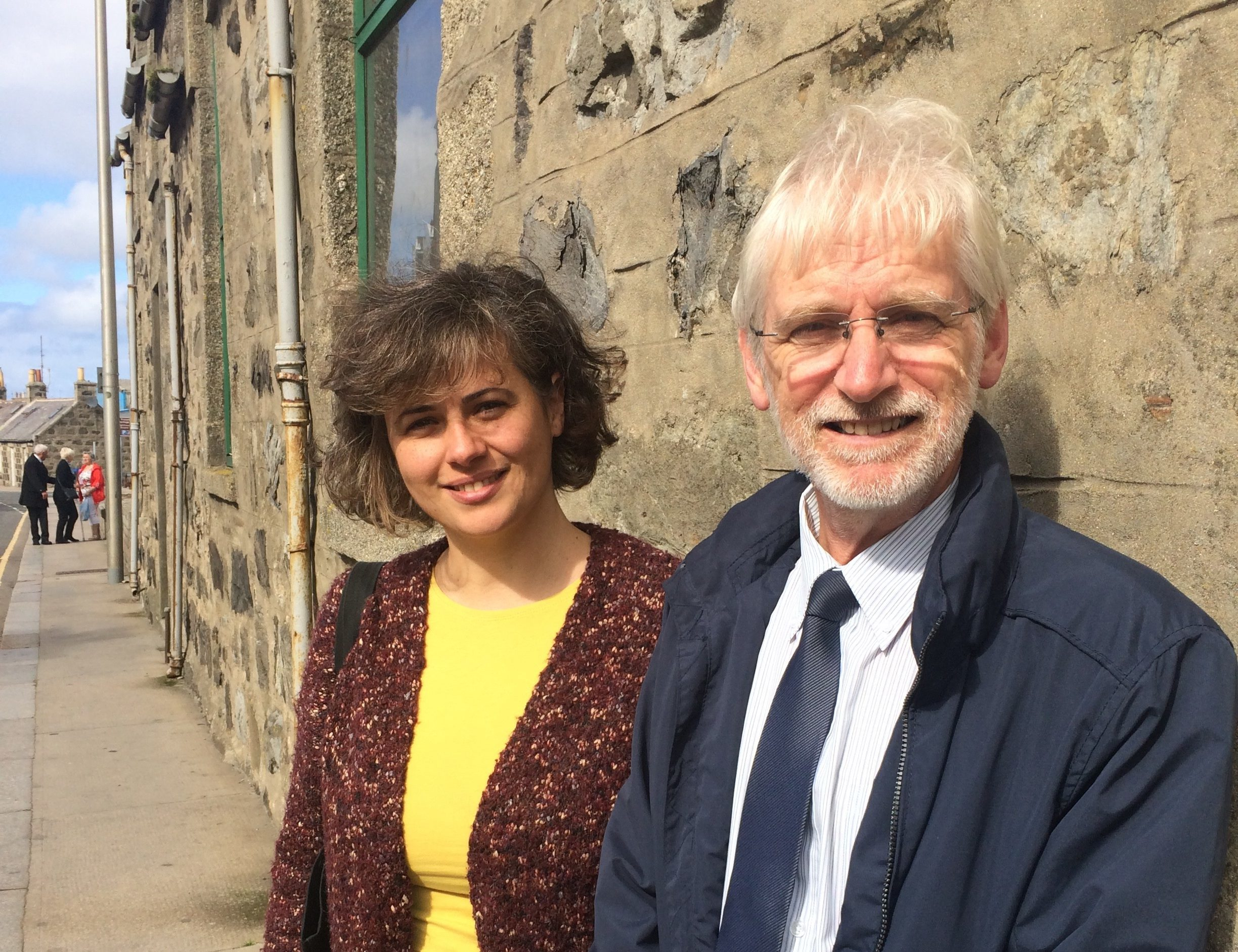 Sofia Oliveira, small grants officer, Fraserburgh 2021 and Jim Buchan, church officer, Fraserburgh Old Parish Church, in front of the Penny Schoolie in Fraserburgh